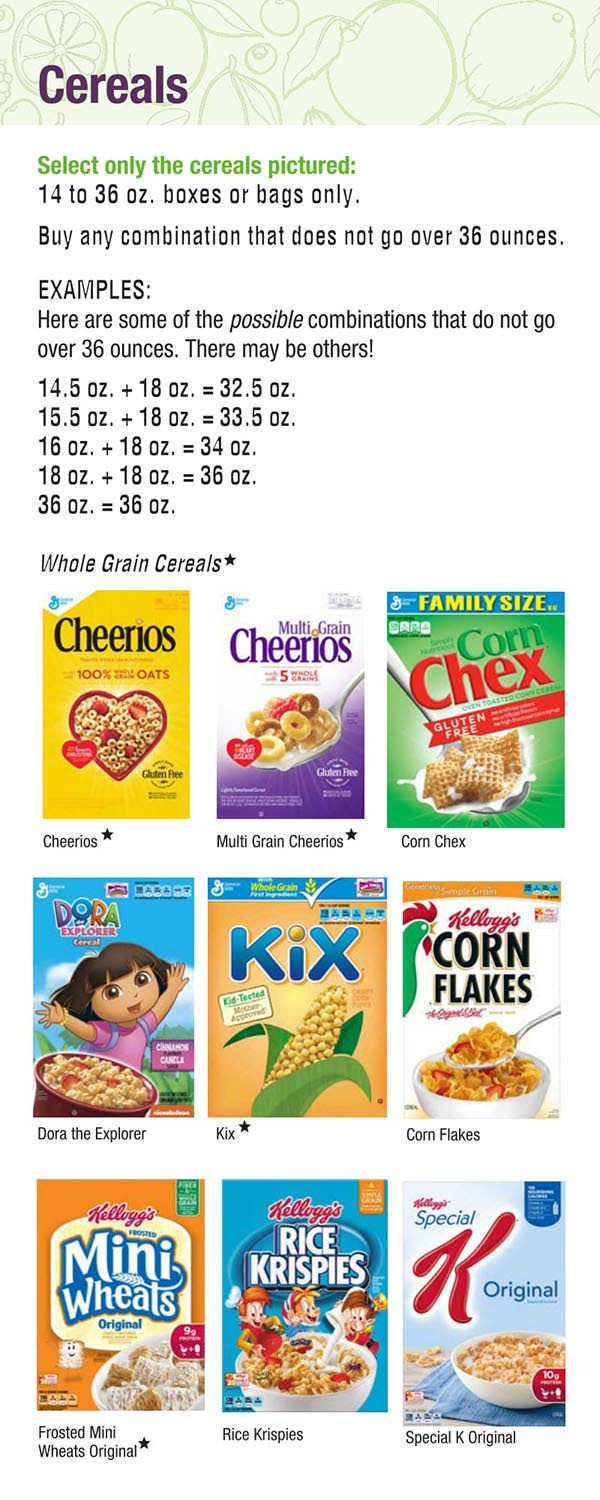 Alabama WIC Food List Cereals