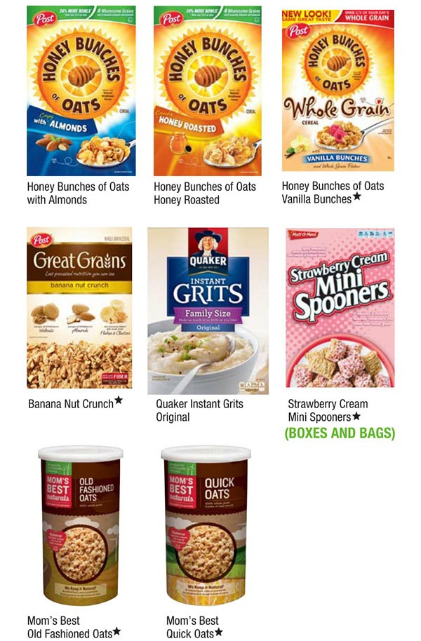 Alabama WIC Food List Cereal Boxes
