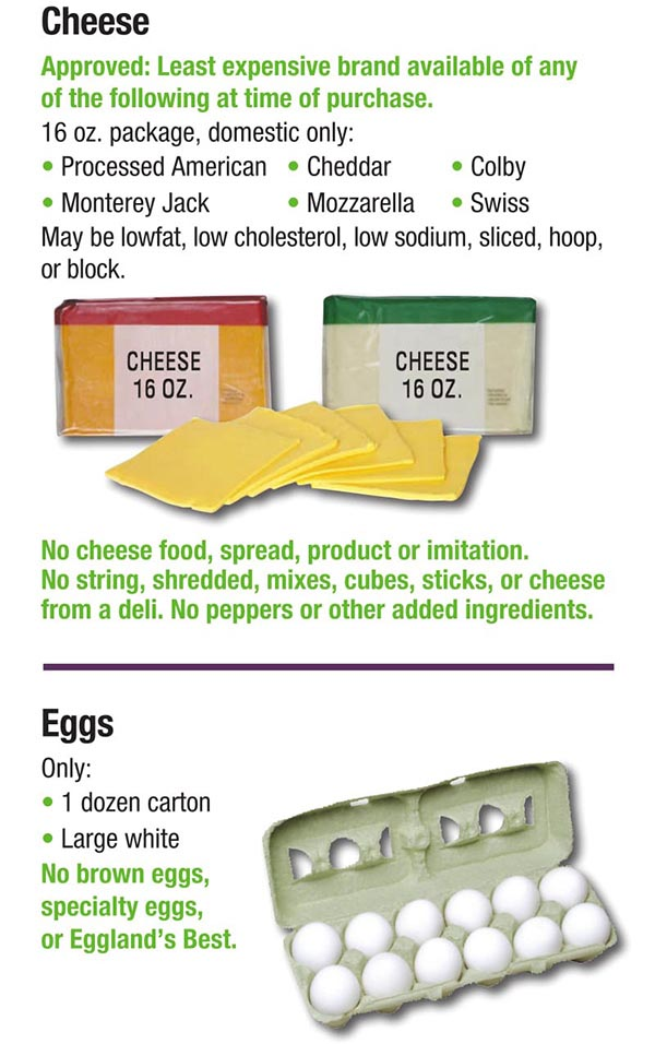 Alabama WIC Food List Cheese and Eggs