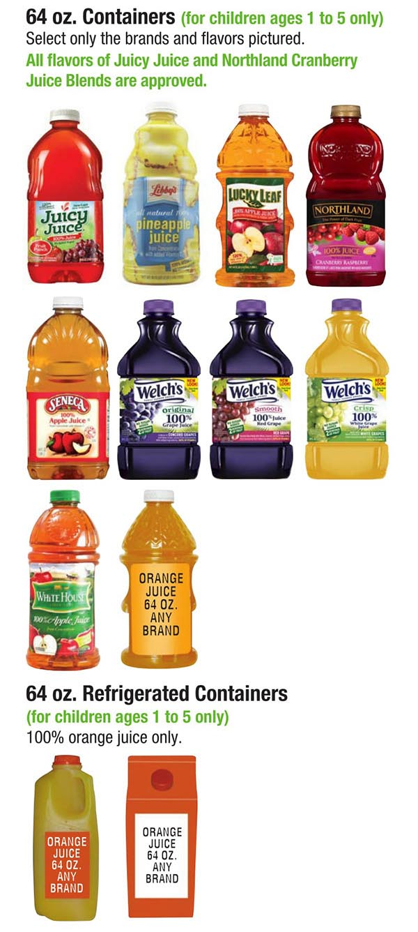 Alabama WIC Food List Juice Bottles
