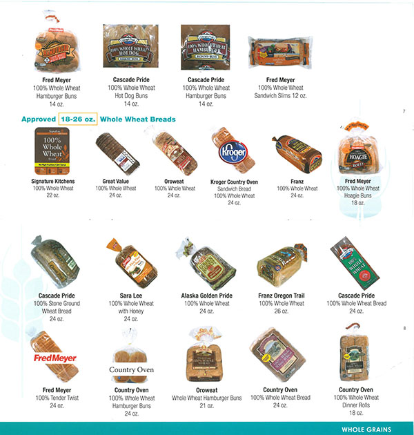 Alaska WIC Food List Whole Grain Breads