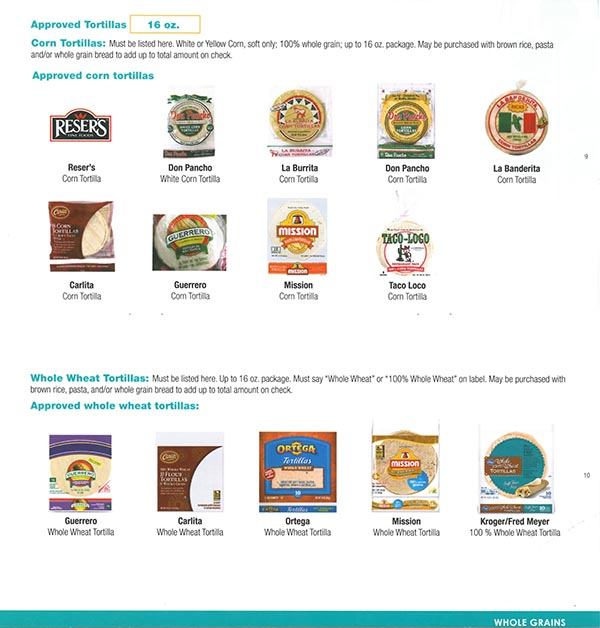Alaska WIC Food List Tortillas