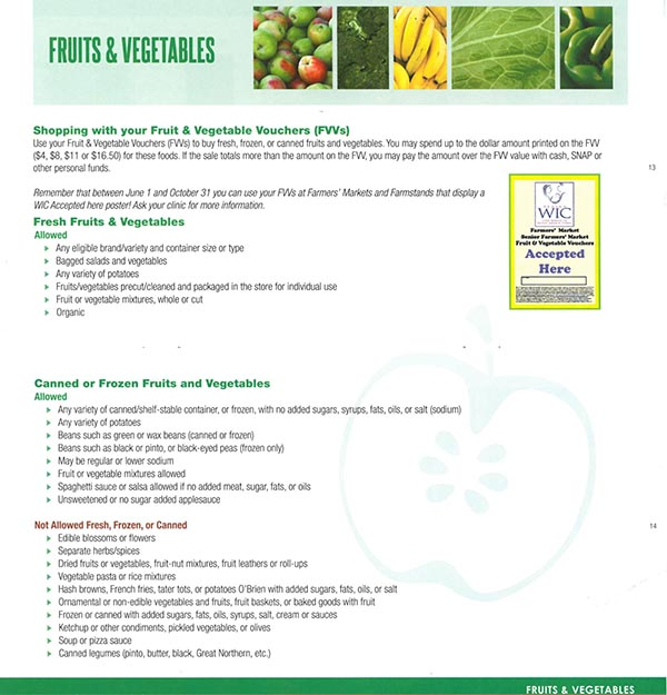 Alaska WIC Food List Fruits and Vegetables