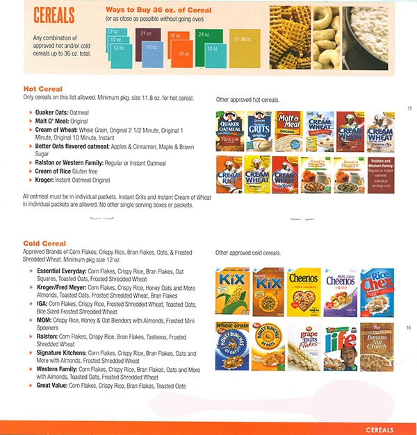 Alaska WIC Food List Cereals