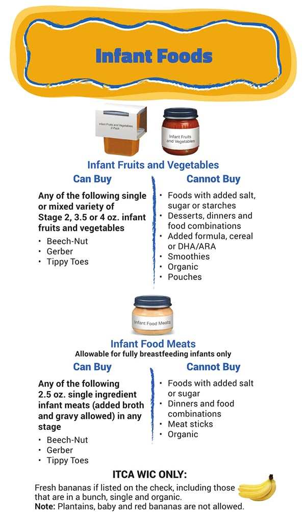 Arizona WIC Food List Infant Foods