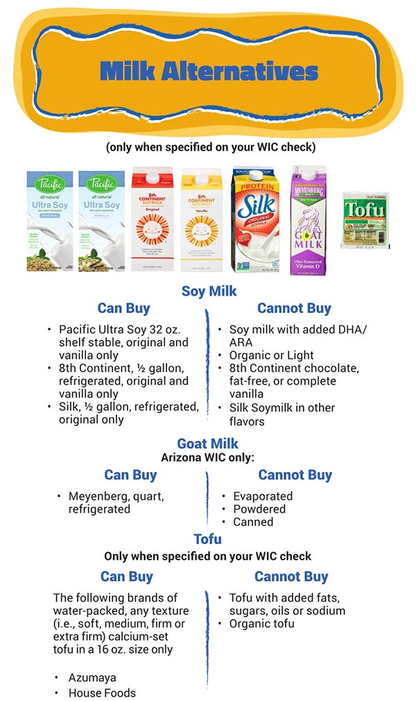 Arizona WIC Food List Milk Alternatives