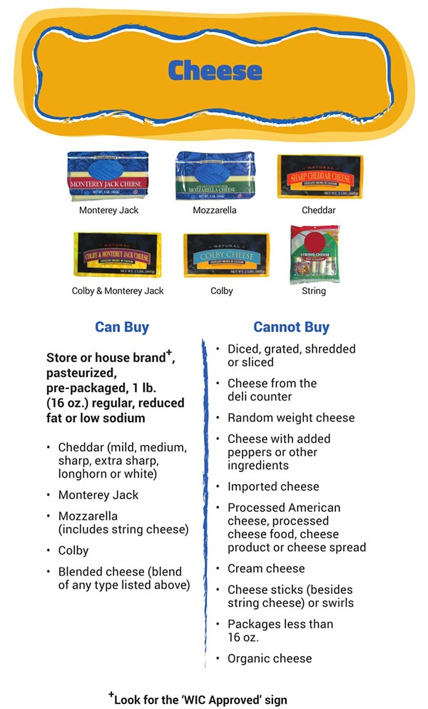 Arizona WIC Food List Cheese