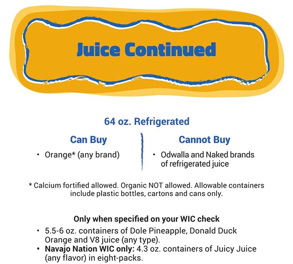 Arizona WIC Food List Juice Refridgerated