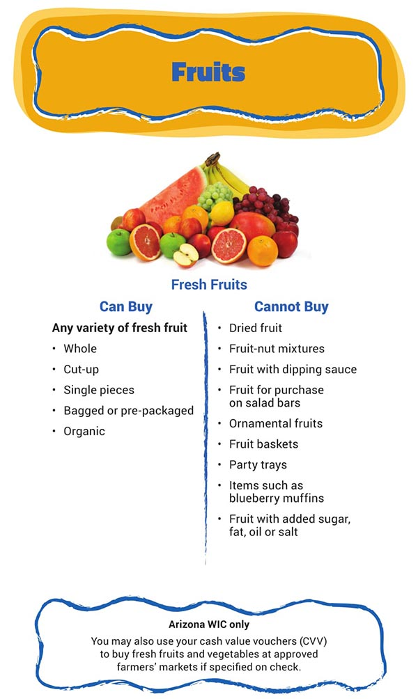 Arizona WIC Food List Fruits