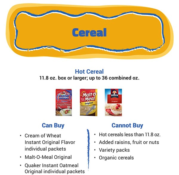 Arizona WIC Food List Cereal