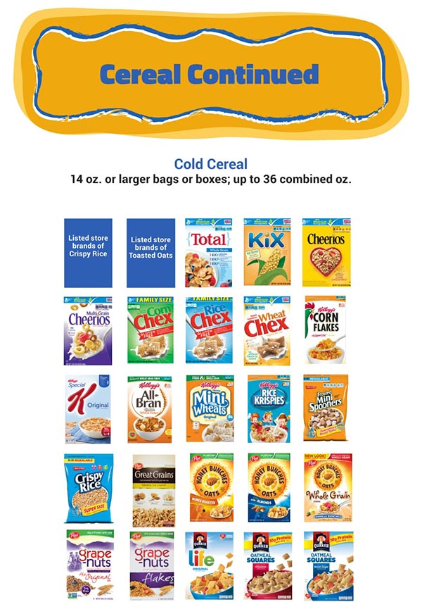 Arizona WIC Food List Cold Cereal