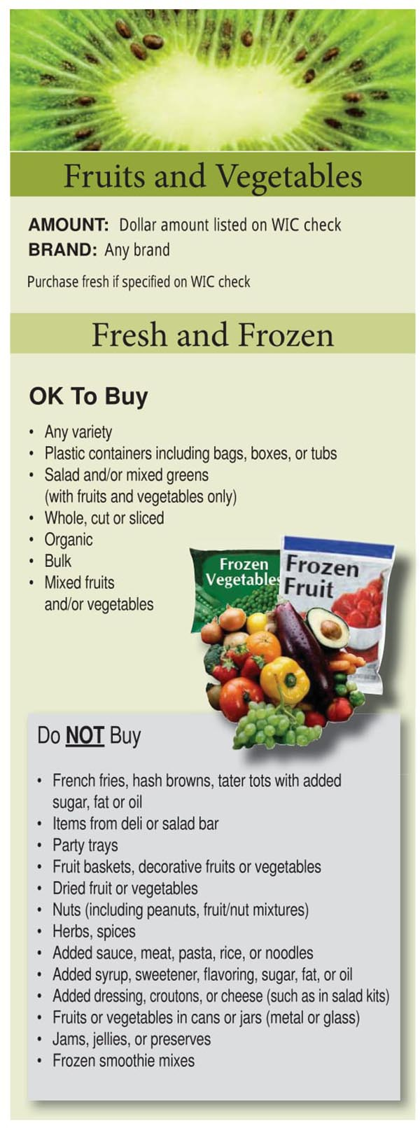 Colorado WIC Food List Fruits and Vegetables, Fresh and Frozen