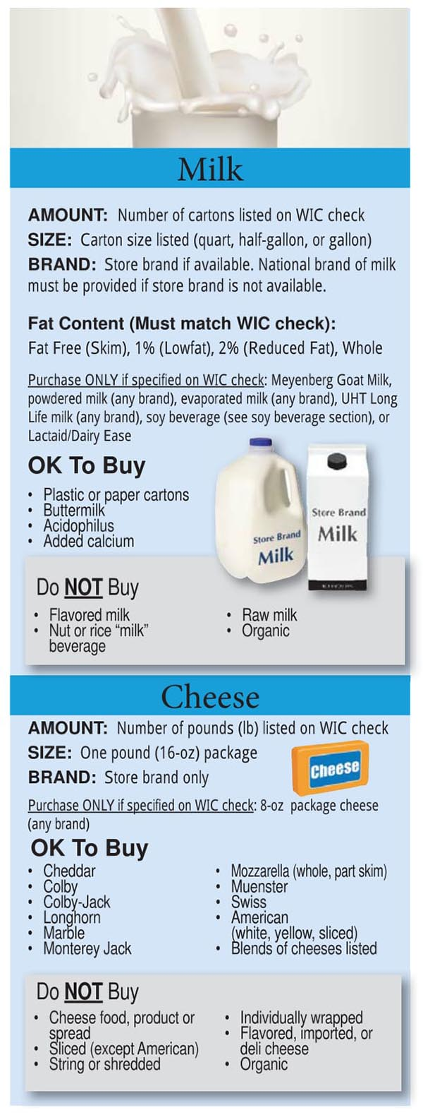 Colorado WIC Food List Milk and Cheese