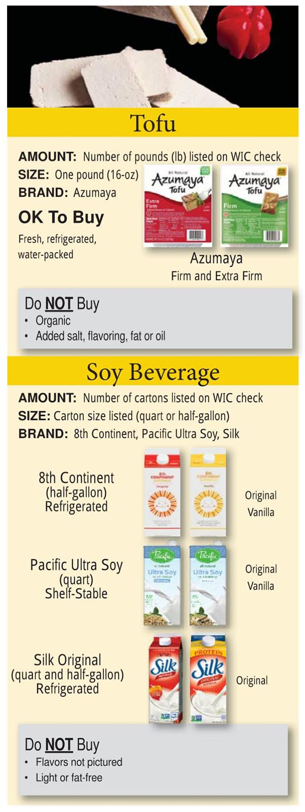 Colorado WIC Food List Tofu and Soy Beverage