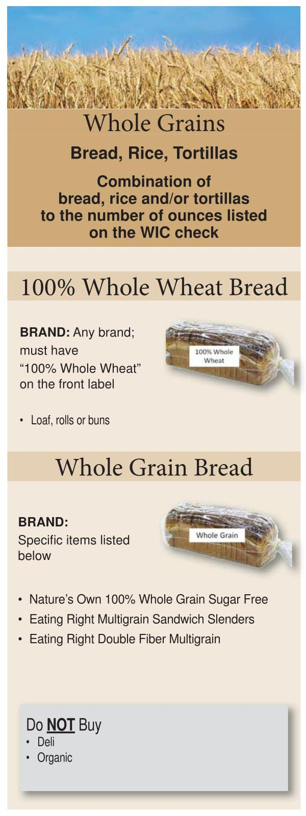 Colorado WIC Food List Whole Grains, Bread, Wheat Bread, Rice and Tortillas