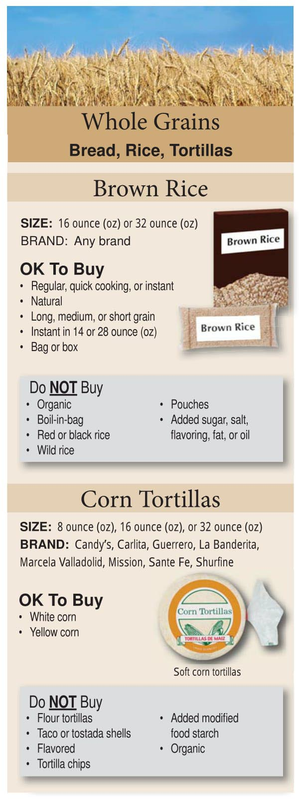 Colorado WIC Food List Whole Grains, Brown Rice and Corn Tortillas