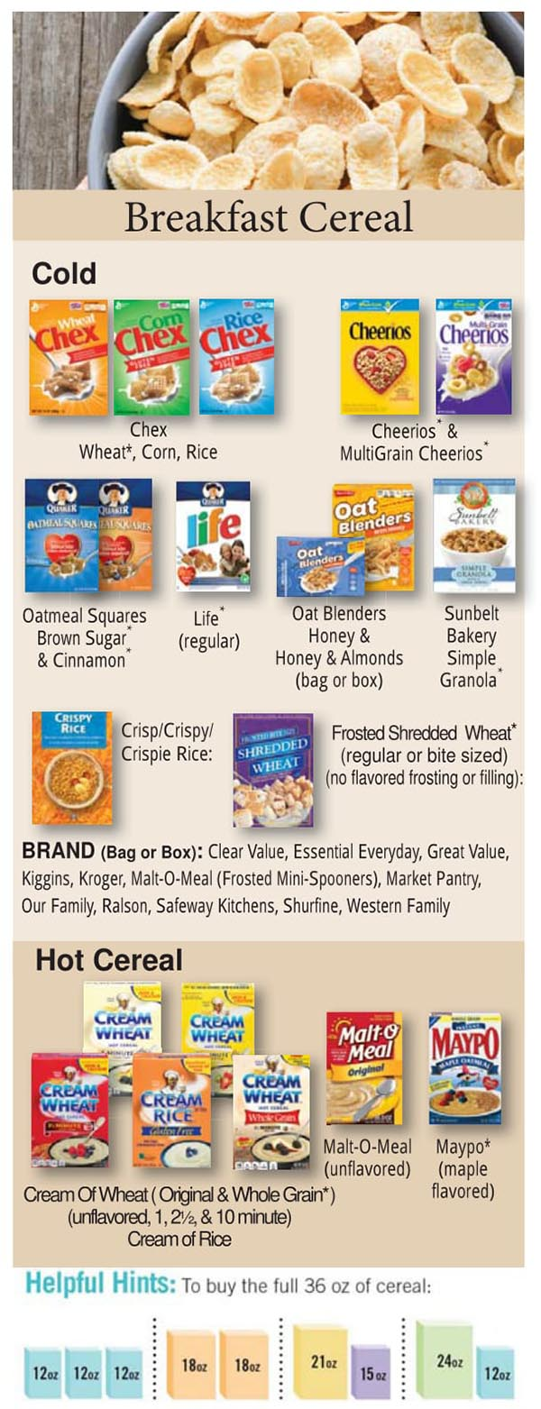 Colorado WIC Food List Breakfast Cereal, Hot and Cold Cereal