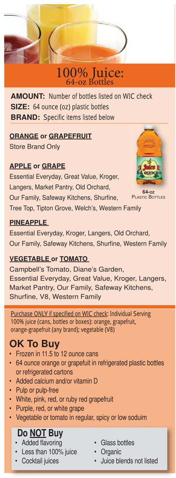 Colorado WIC Food List Juices, Vegetable Juice and Tomato Juice