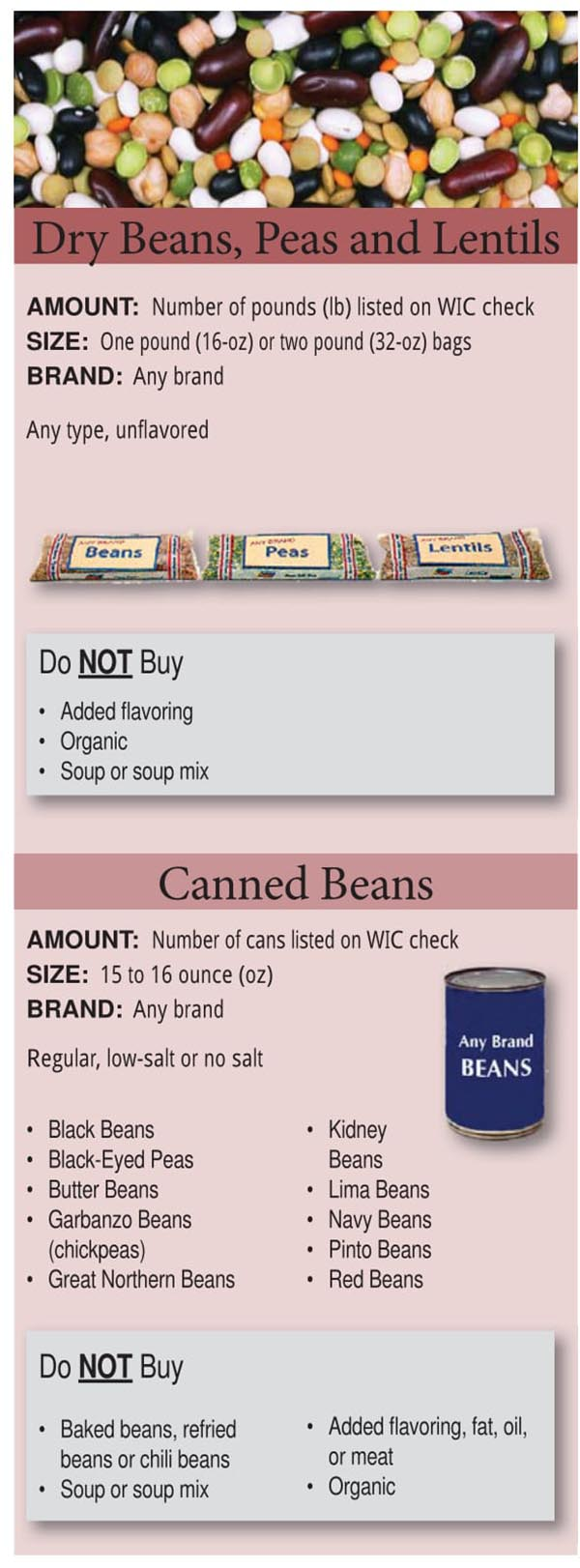 Colorado WIC Food List Dry Beans, Peas, Canned Beans and Lentils