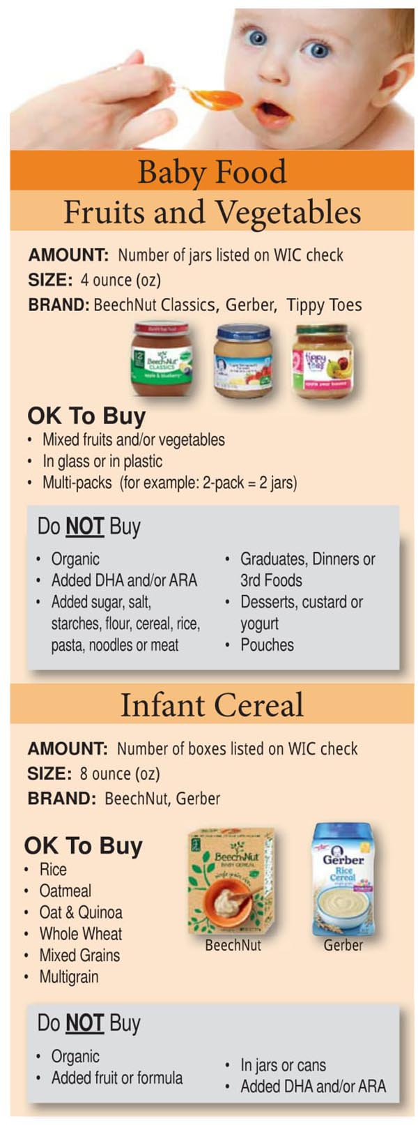 Colorado WIC Food List Baby Foods, Infant Cereal, Fruits and Vegetables