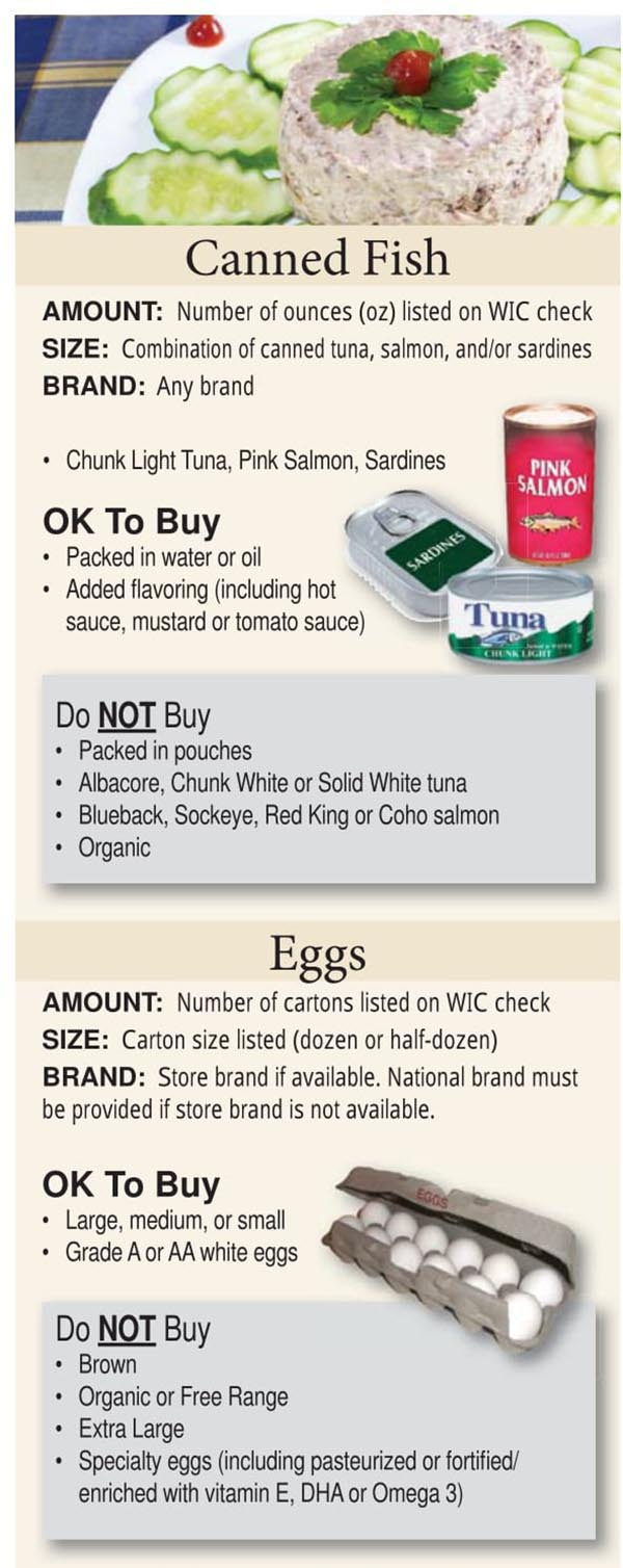 Colorado WIC Food List Canned Fish and Eggs