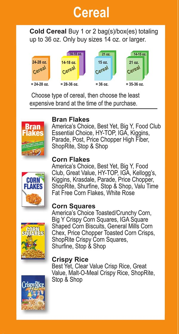 Connecticut WIC Food List Cereal