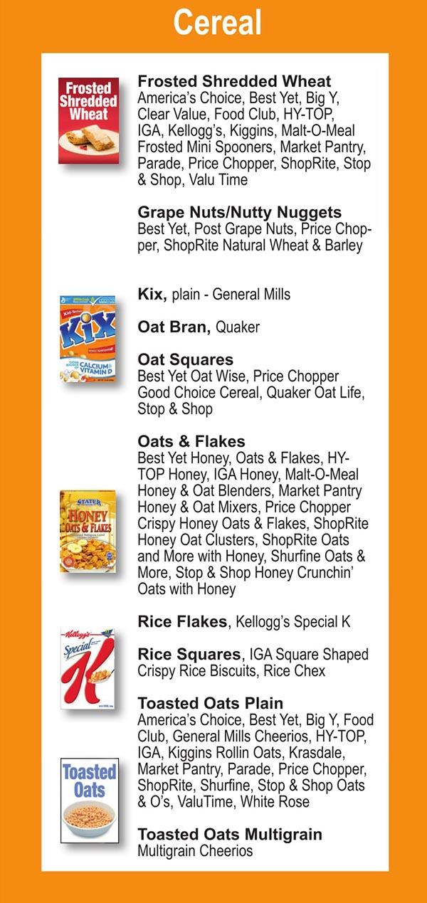 Connecticut WIC Food List Cereal, Frosted Shredded Wheat and Rice Flakes