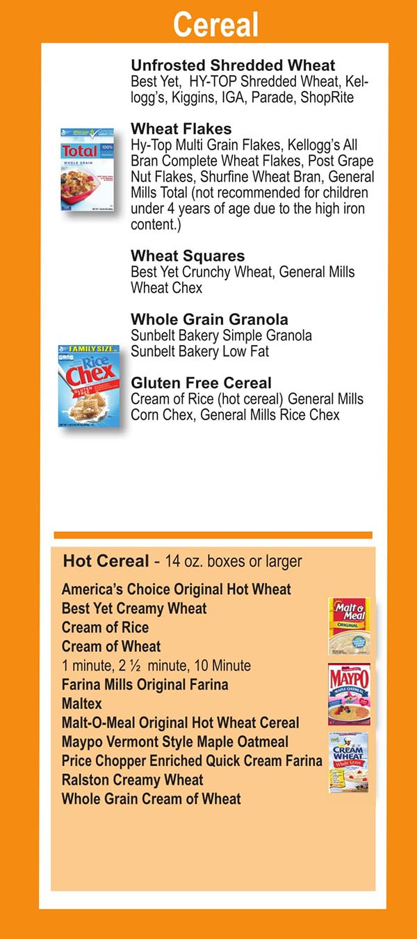 Connecticut WIC Food List Cereal, Wheat Flakes and Gluten Free Cereal