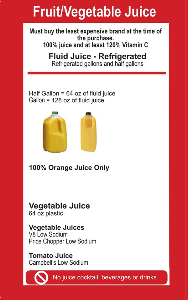 Connecticut WIC Food List Fruits and Vegetable Juice