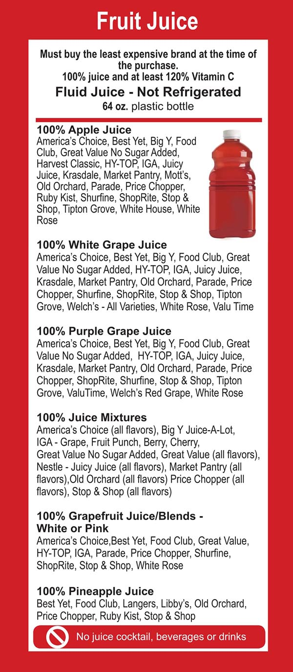 Connecticut WIC Food List Fruit Juice Non Refrigerated