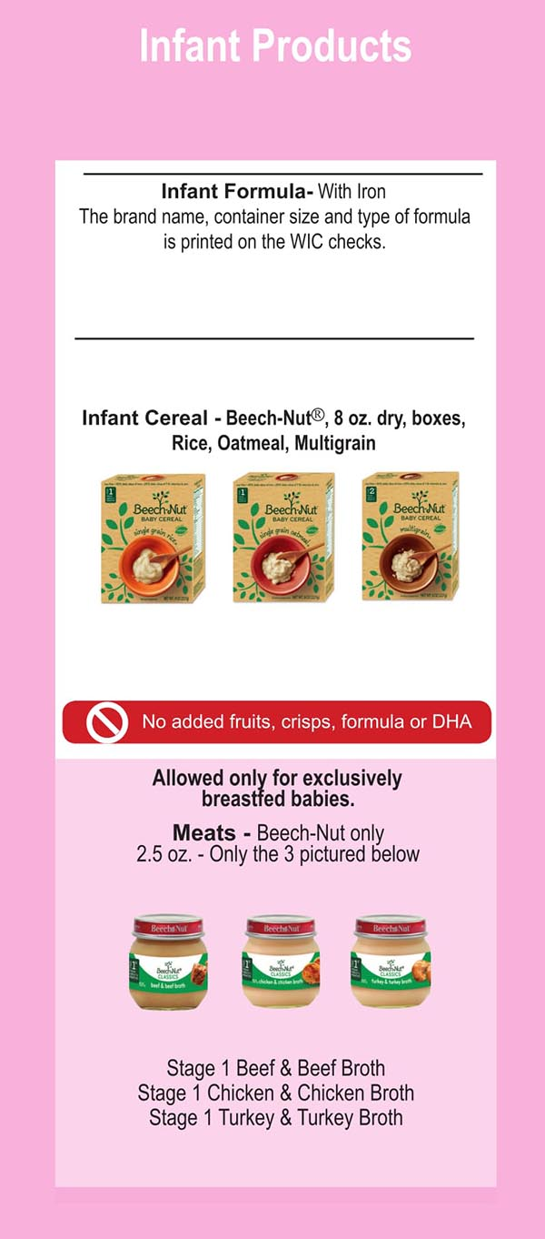 Connecticut WIC Food List Infant Products and Infant Formula