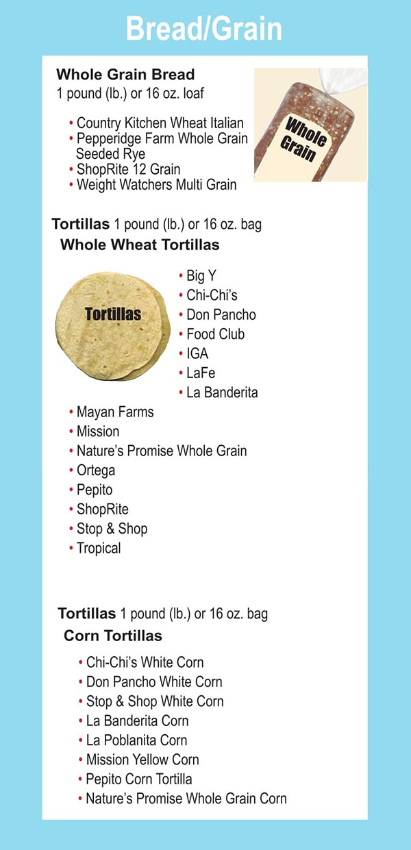 Connecticut WIC Food List Whole Grain Bread, Whole Weat Tortillas and Corn Tortillas