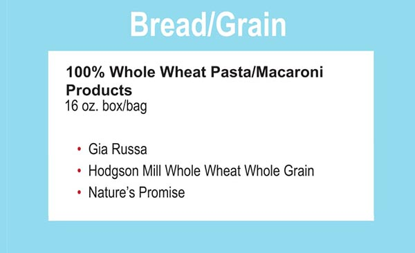 Connecticut WIC Food List Bread, Grains, Whole Wheat Pasta and Macaroni