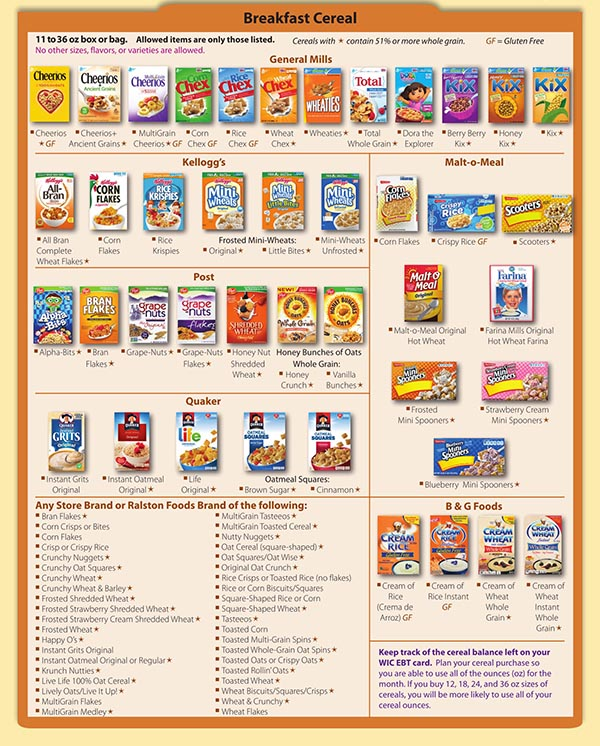 Florida WIC Food List Breakfast Cereal