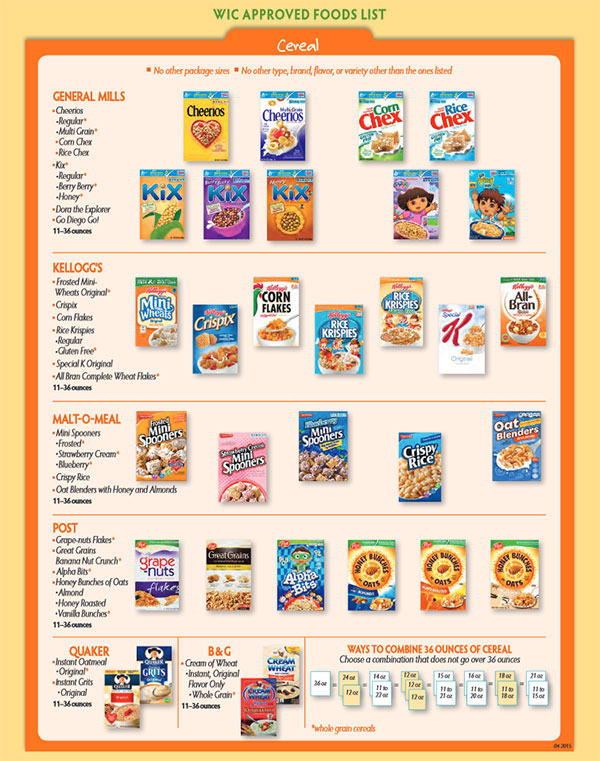 Georgia WIC Food List Cereal