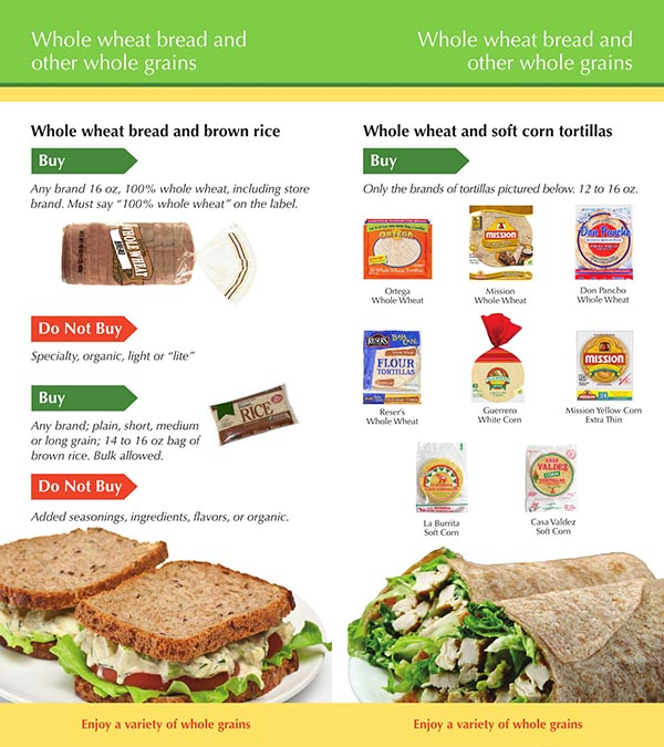 Idaho WIC Food Whole Wheat Bread and Other Whole Grains