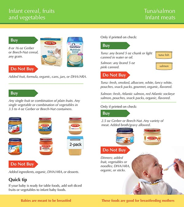Idaho WIC Food List Infant Cereal, Tuna, Salmon, infant meats, Fruits and Vegetables
