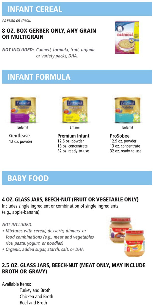 Indiana WIC Food List Infant Cereal, Infant Formula and Baby Food