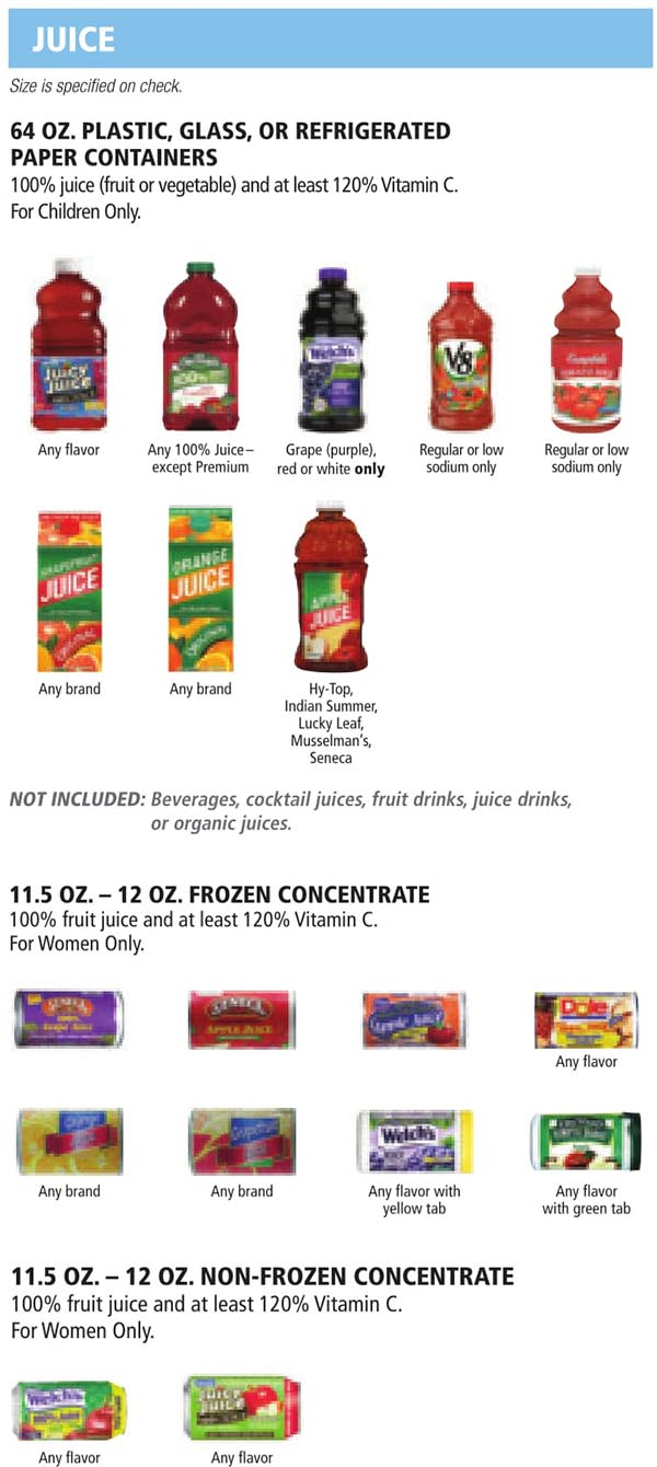 Indiana WIC Food List Juice, Frozen and Non Frozen Concentrated Juice