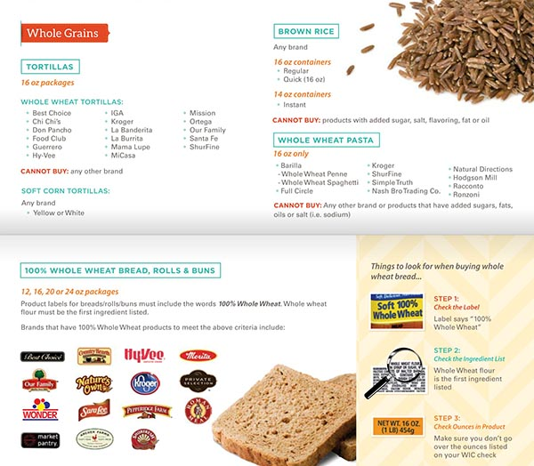 Kansas WIC Food List Whole Grains, Tortillas, Brown Rice, Whole Wheat Pasta, Whole Wheat Bread, Rolls and Buns