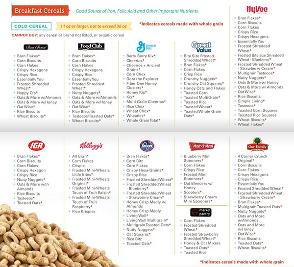 Kansas WIC Food List Breakfast Cereals and Cold Cereal