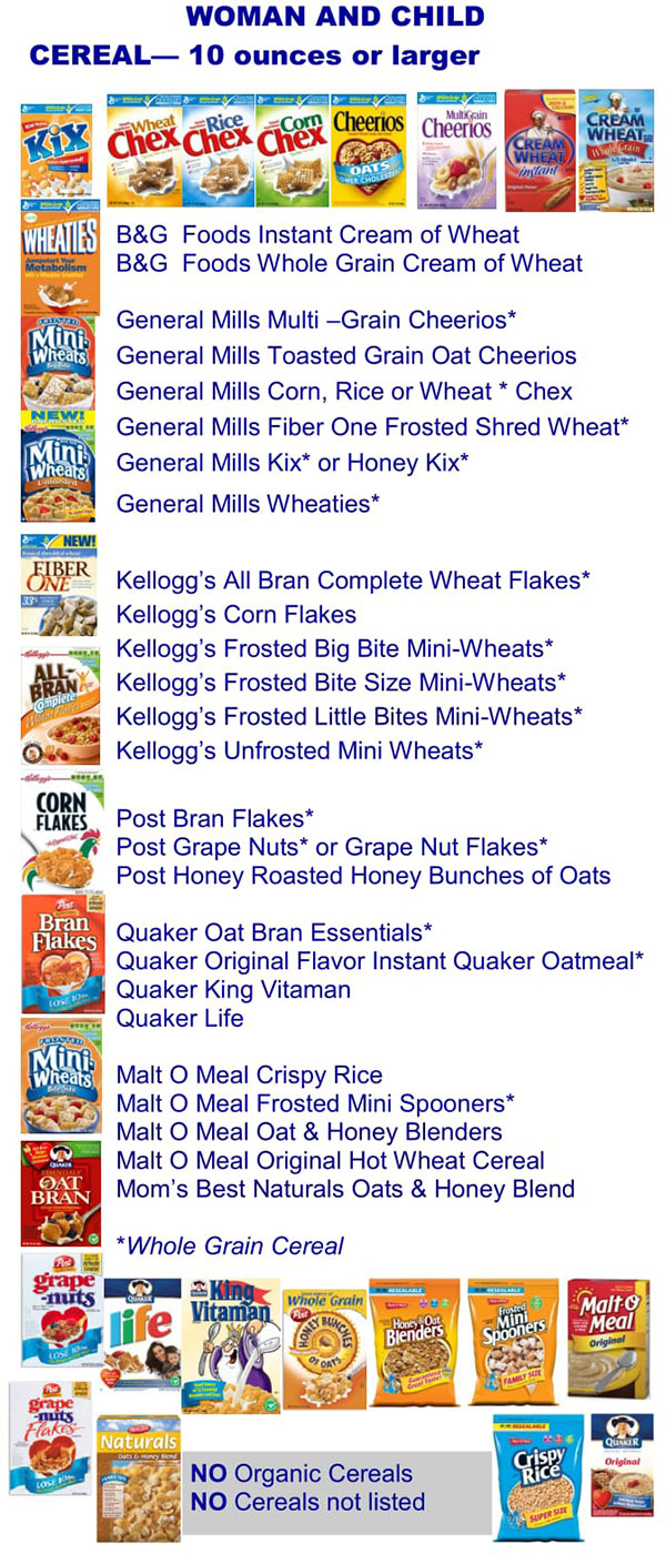 Kentucky WIC Food List Woman and Child Cereal