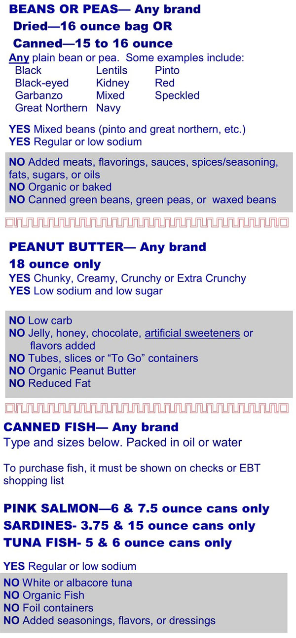 Kentucky WIC Food List Beans, Peas, Peanut Butter and Canned Fish