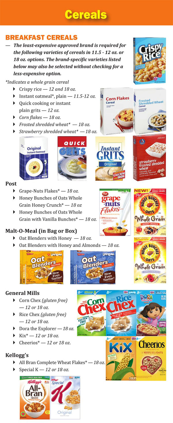 Louisiana WIC Food List Cereals and Breaksfast Cereal