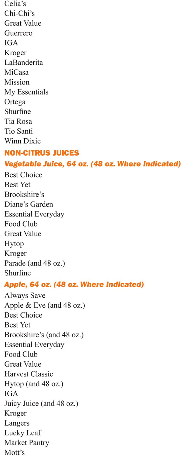 Louisiana WIC Food List Non Citrus Juices, Vegetable Juice and Apple