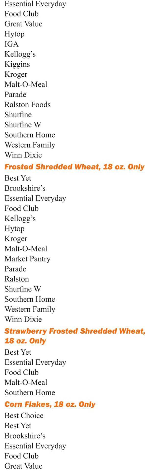Louisiana WIC Food List Frosted Shredded Wheat, Strawberry Frosted Shredded Wheat and Corn Flakes