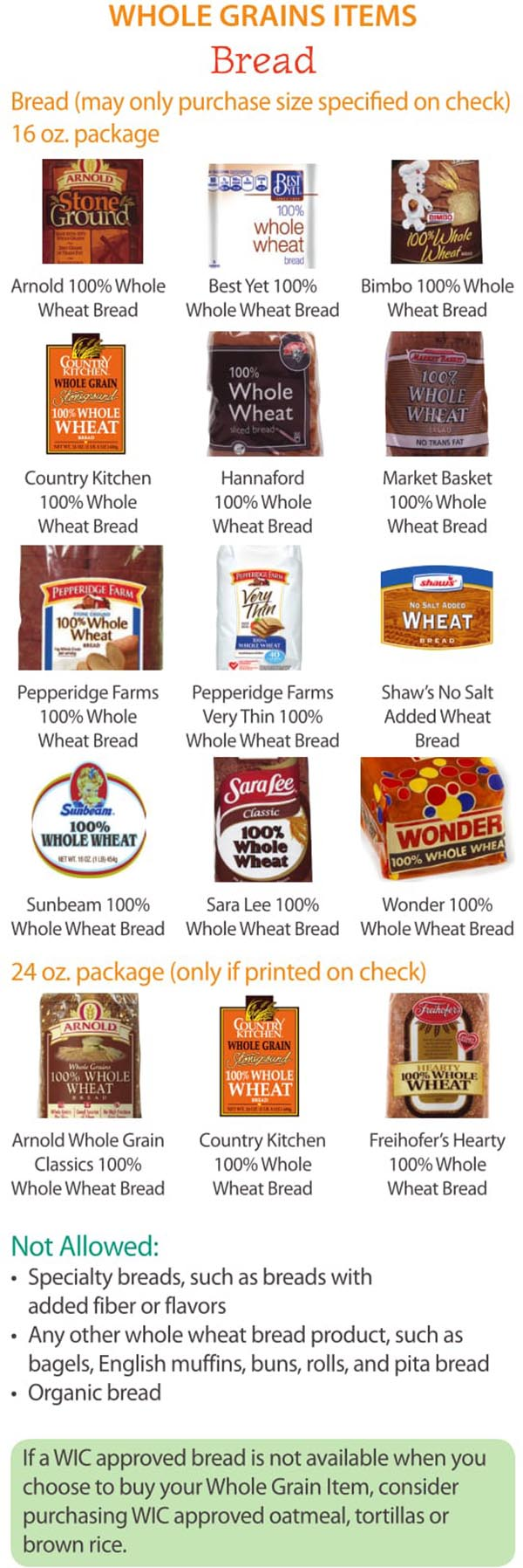 Maine WIC Food List Whole Grain and Bread