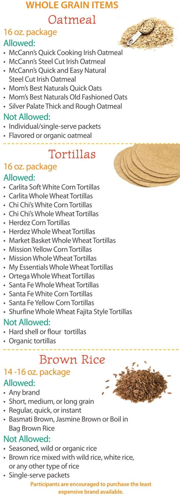 Maine WIC Food List Whole Grain, Oatmeal, Tortillas and Brown Rice