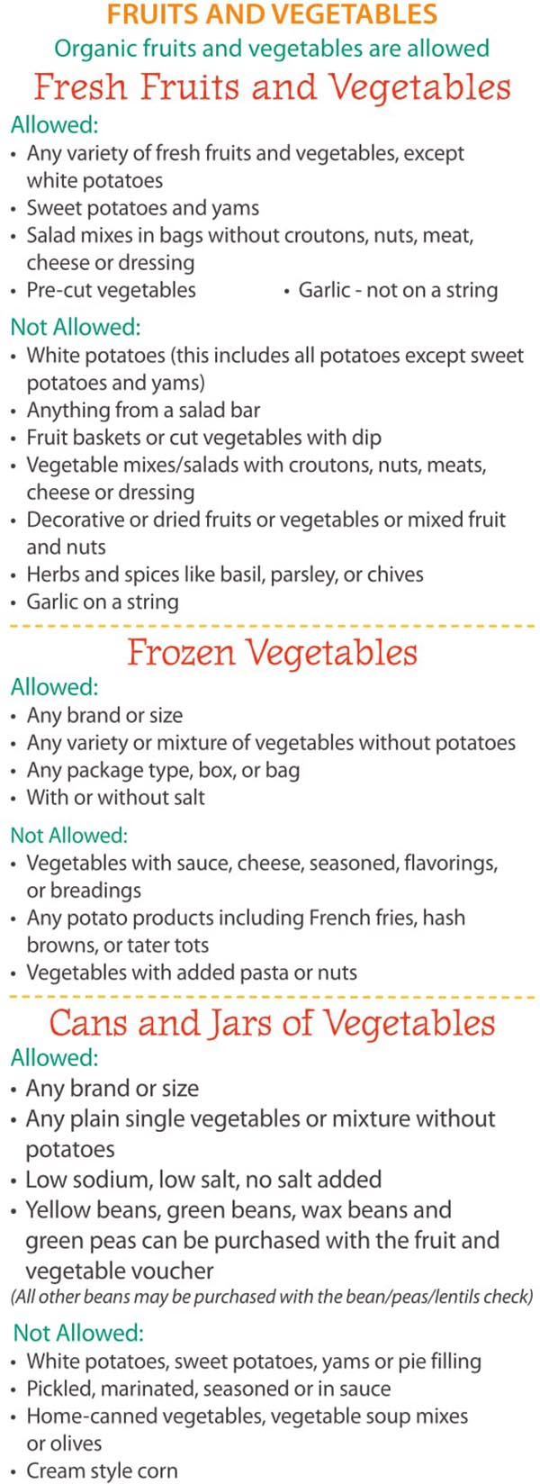 Maine WIC Food List Fruits and Vegetables