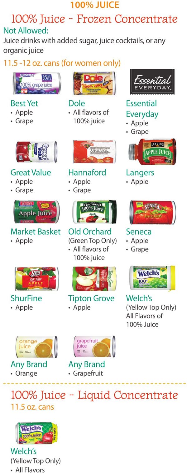 Maine WIC Food List Juice, Frozen Concentrate and Liquid Concentrate